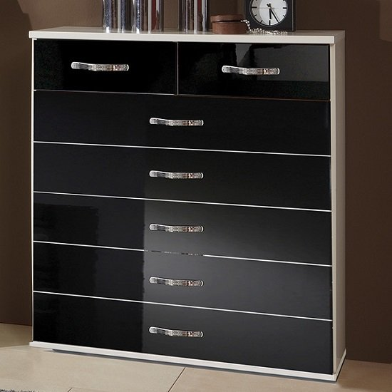 Luton Wide Chest of Drawers In High Gloss Black Alpine White_1