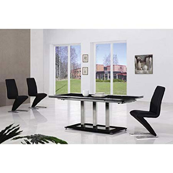 Tripod Extending Glass Dining Table In Black And 6 G632 Chairs