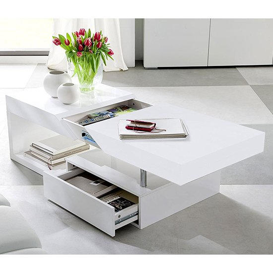View Tuna storage coffee table in high gloss white