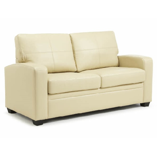Catalina Modern Sofa Bed In Cream Faux Leather