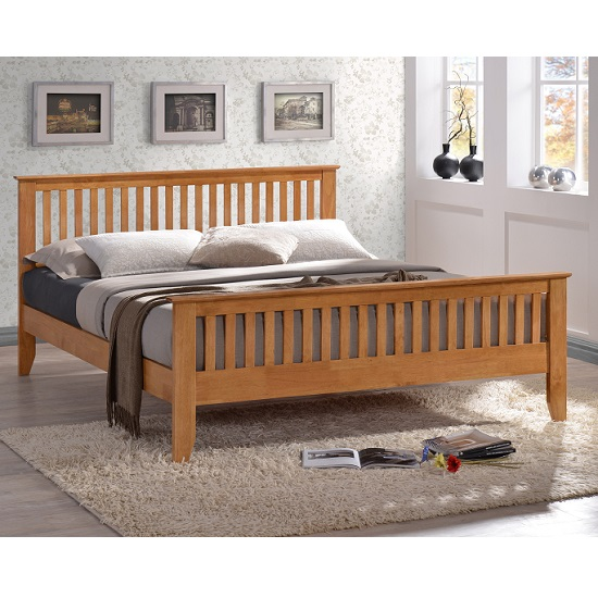 Turin Contemporary Wooden Bed In Hevea Hardwood