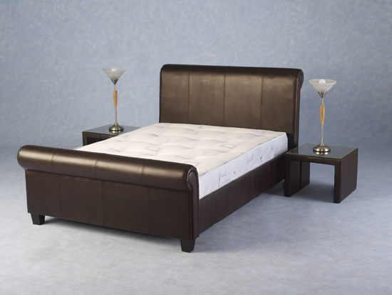 Tuscany Sleigh Modern 4ft 6 Expresso Brown Double Bed