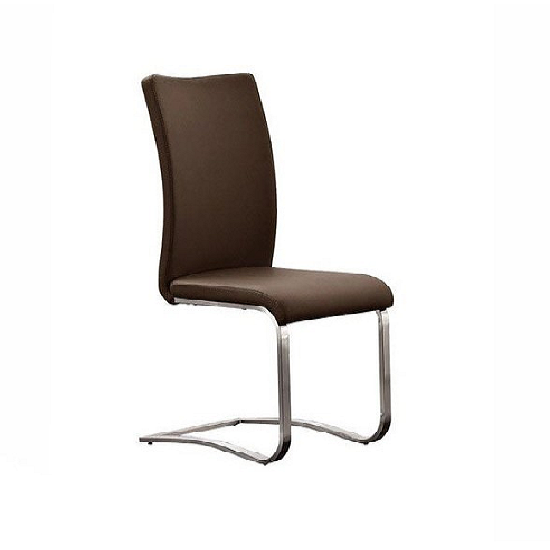 Arco Brown Pu Seat And Brushed Stainless Steel Dining Chair_1
