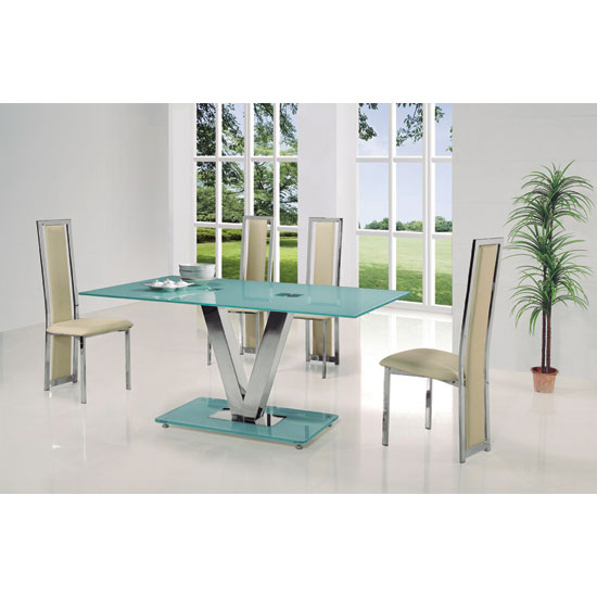 Venus Large Frosted Glass Dining Table And 4 G601 Cream Chairs