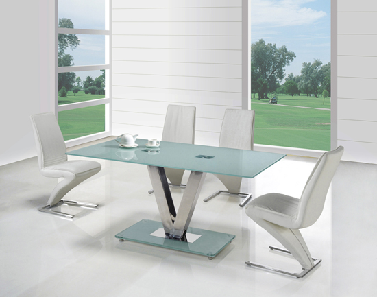 V frosted glass dining table and 6 z dining chairs 8450 for Frosted glass dining table