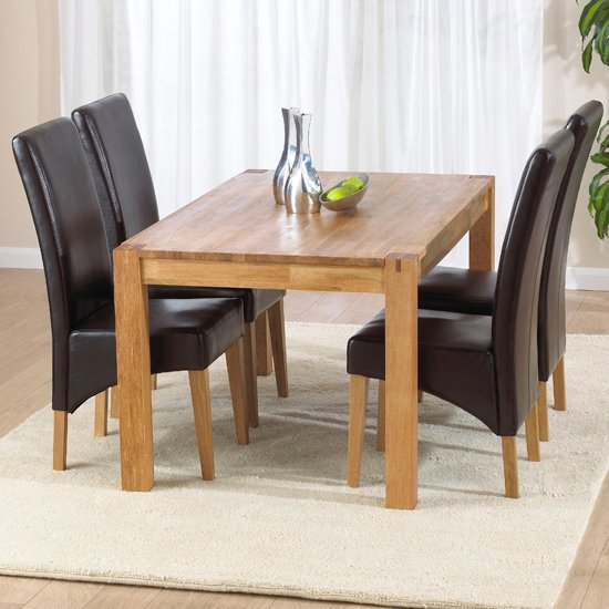 Milan Oak Dining Table And 4 Roma Chairs