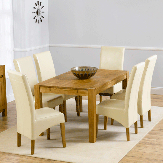 Milan Oak Dining Table With 6 Roma Chairs In Cream