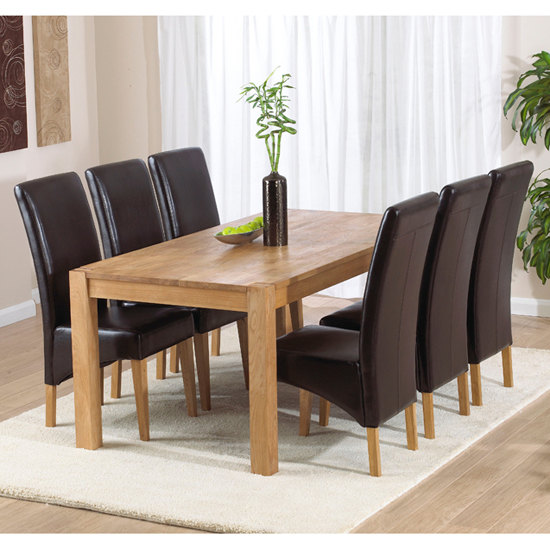 milan oak dining table with 6 roma chairs in 14087 fur