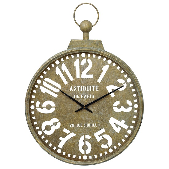 Read more about Poltava wall clock round in brown with antique lettering