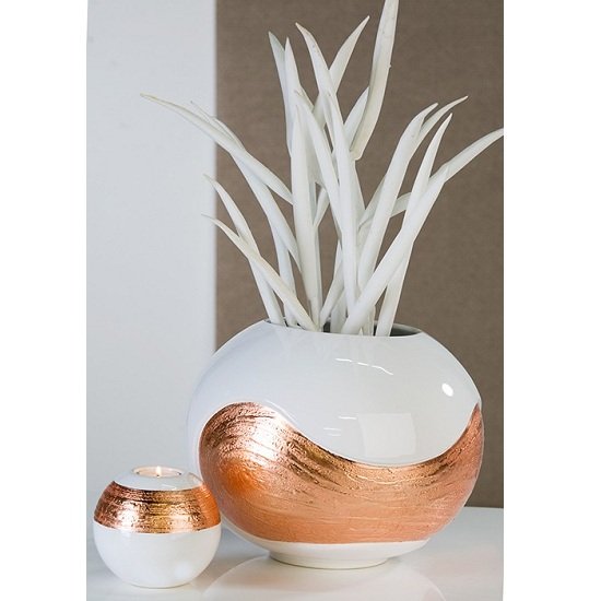 Vase Elea Sculpture In White And Copper Ceramic Glazed