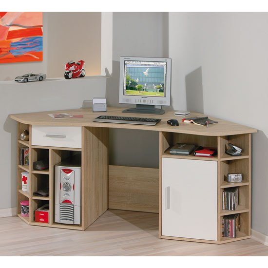 Vasto Wooden Corner Home Office Desk In Oak And White