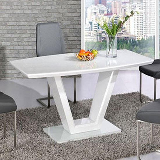 Photo of Ventura white high gloss finish v shape base dining table only