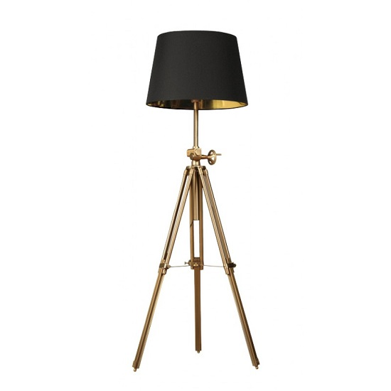 Read more about Venezuela floor lamp in antique brown metal with black shade