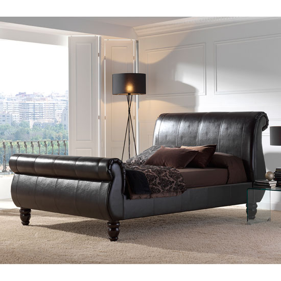 Ver456l sleigh style real leather bed - Tips To Identify Quality Bedroom Furniture