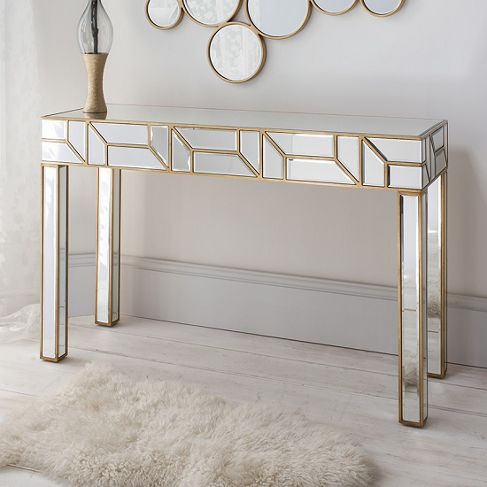 Dresden Mirrored Console Table Rectangular In Painted Gold