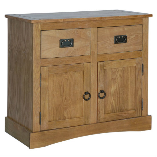 Vermont Compact Sideboard In Oak With 2 Doors And 2 Drawers
