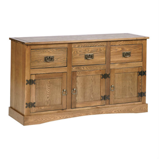 Vermont Wide Sideboard In Oak With 3 Doors And 3 Drawers