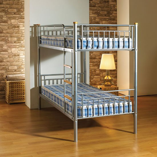 Vernon 3 Metal Bunk Bed in Silver