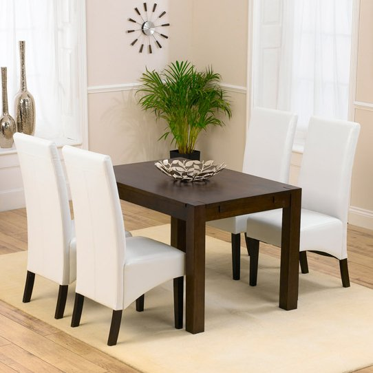 Milan Dark Oak Dining Table And 4 Verona Chairs