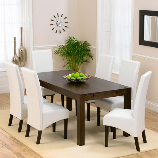 Milan Dark Oak Dining Table And 6 Verona Leather Dining Chairs