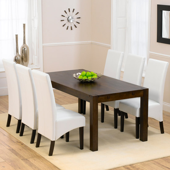 Milan Dark Oak Dining Table And 6 Verona Dining Chairs : Verona Dark 180 x 6 Ivory Venezia from www.furnitureinfashion.net size 550 x 550 jpeg 41kB