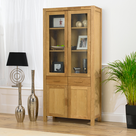 Milan Oiled Oak Display Cabinet