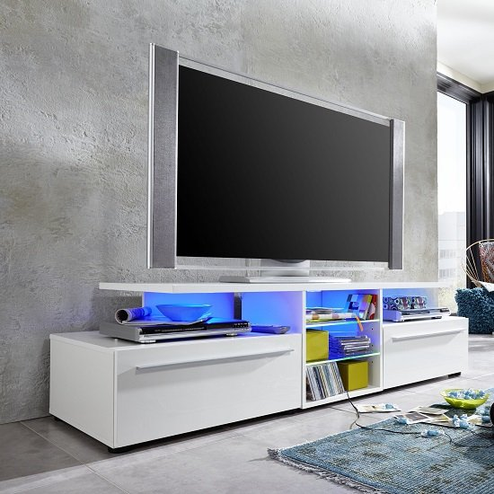 Irina Modern TV Stand In White With High Gloss Fronts