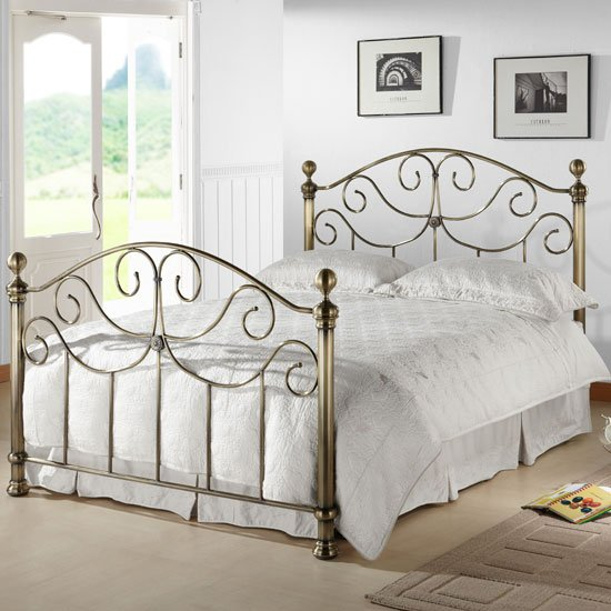 Victoria Antique Brass Metal Double Bed With Nickel Finials