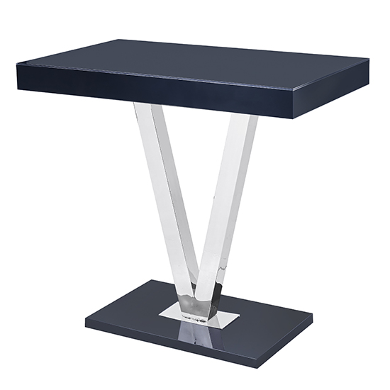 Vienna Glass Bar Table In Black Gloss And Stainless Steel