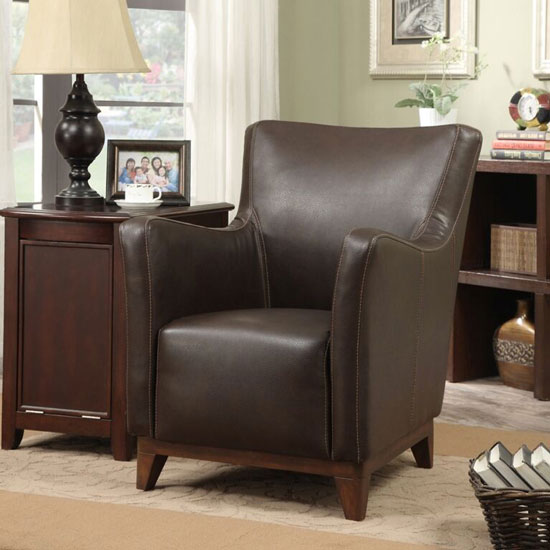 Elixir Armchair In Real Leather Dark Brown