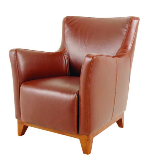 Elixir Armchair In Real Leather Cognac Finish