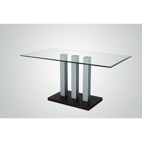 villa clear glass rectangular dining table only 17450. Black Bedroom Furniture Sets. Home Design Ideas