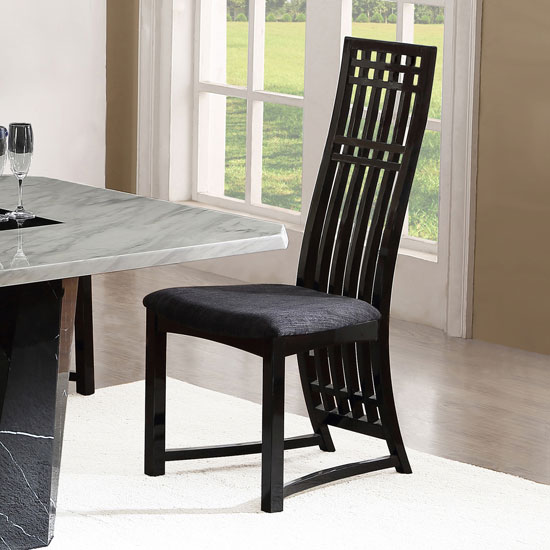 Viola dining chair in fabric with birch wood and black for Black fabric dining room chairs