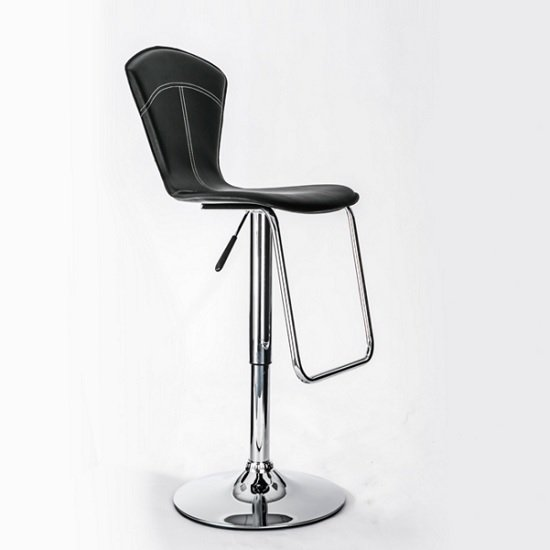 Worsley Bar Stool In Black Faux Leather With Chrome Base