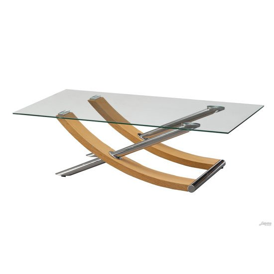 Gemini Coffee Table In Clear Gl Top With Oak And Chrome Base