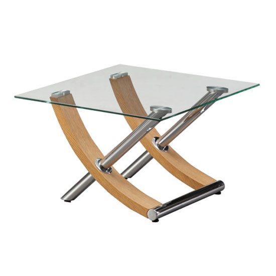 Gemini Lamp Table In Clear Glass Top With Oak And Chrome