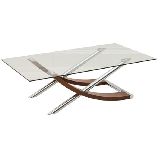 Gemini Clear Glass Top Coffee Table In Walnut And Chrome - Chrome base glass top coffee table