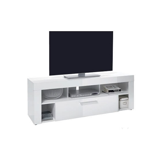 Elista Small LCD TV Stand In White High Gloss With 1 Drawer