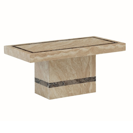Aviator marble coffee table in cream and cappuccino 27083 Stone coffee table