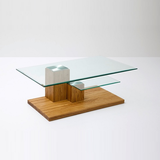 Burton Glass Coffee Table In Clear With Knotty Oak Base