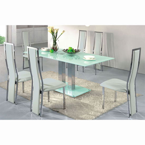 Ice Dining Table In Frosted Glass With 4 Dining Chairs White