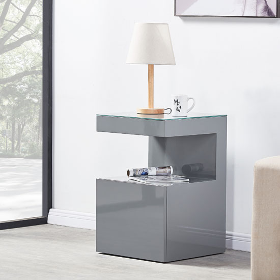 Voltaire Side Table In Grey High Gloss With Glass Top