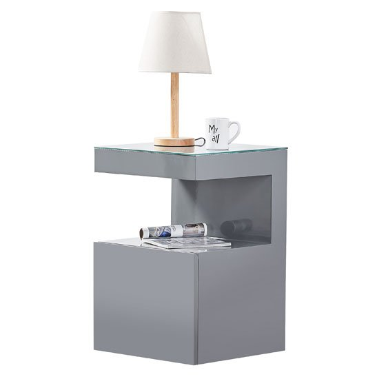 Voltaire Side Table In Grey High Gloss With Glass Top_2