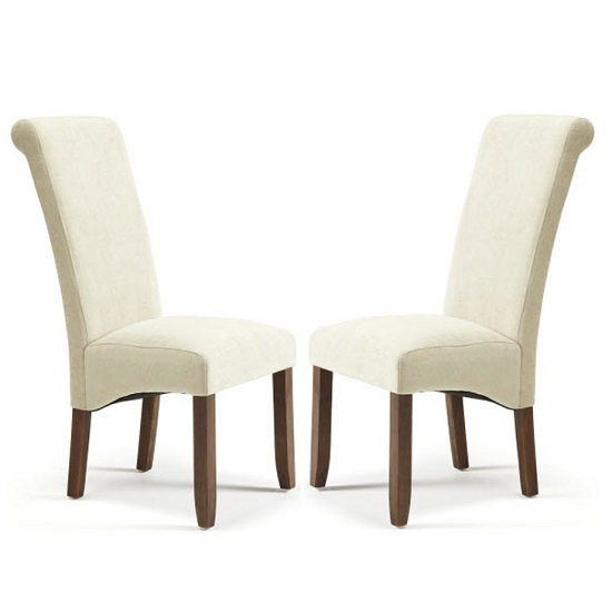 Ameera Dining Chair In Plain Cream Fabric And Walnut in A Pair