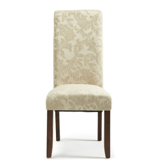 Ameera Dining Chair In Floral Cream Fabric And Walnut in A Pair_2