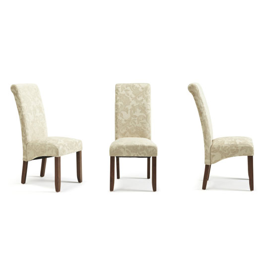Ameera Dining Chair In Floral Cream Fabric And Walnut in A Pair_4