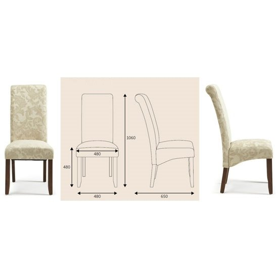 Ameera Dining Chair In Floral Cream Fabric And Walnut in A Pair_6