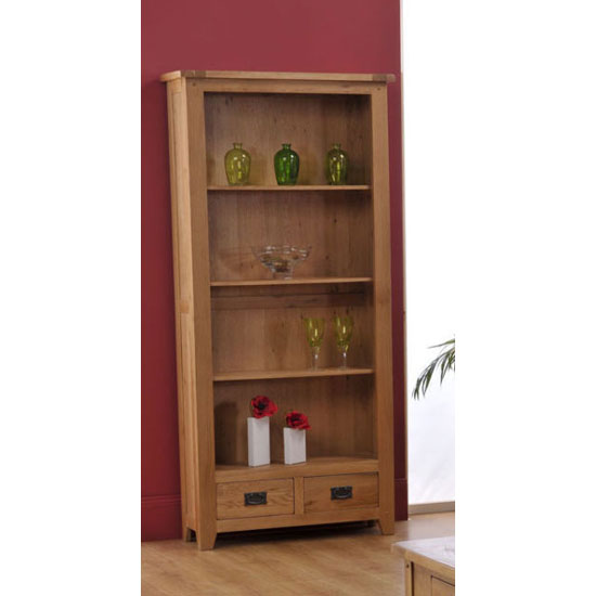 Corrick Large Bookcase In American White Oak With 2 Drawers