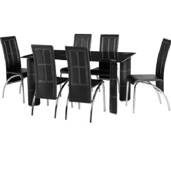Redford Dining Table In Black Glass With 6 Dining Chairs