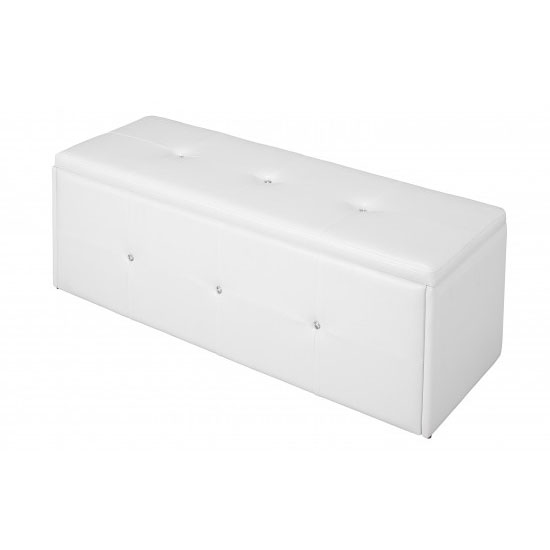 Davis Ottoman Storage Bench In White Faux Leather With Diamante